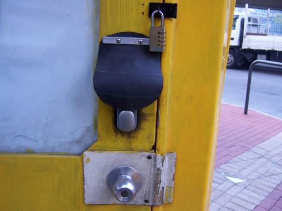 Locks on a door