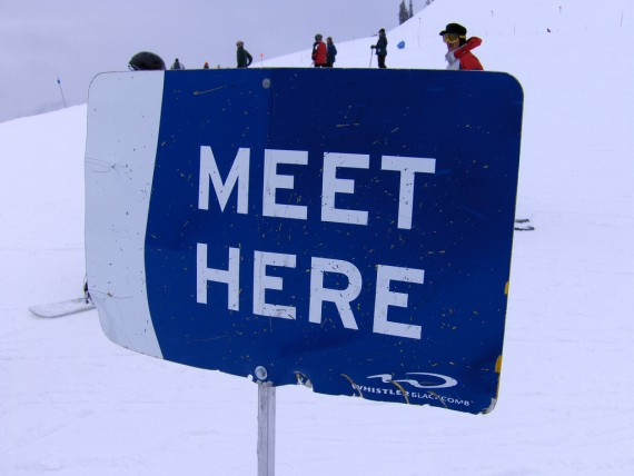 A meeting sign