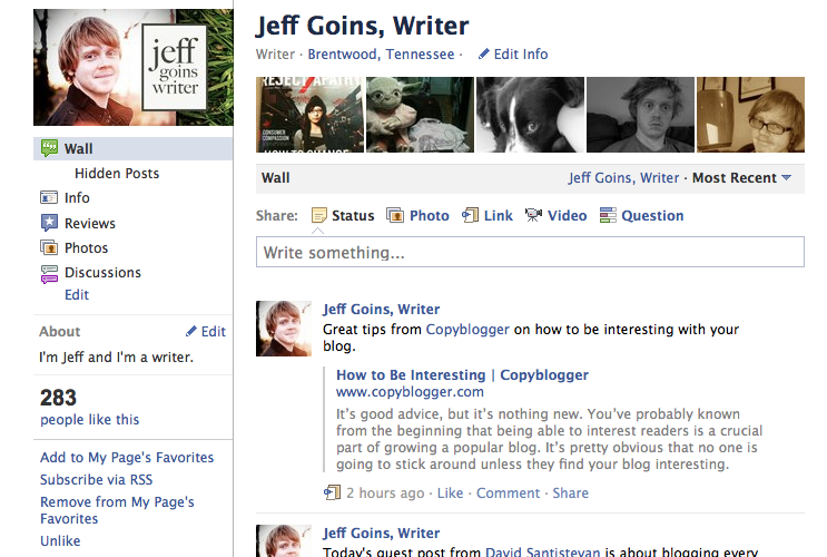 Goins, Writer Facebook Page
