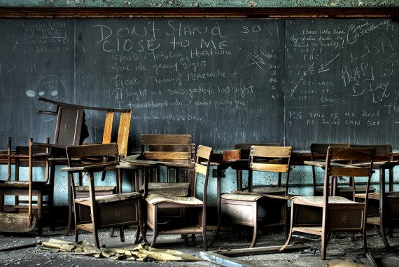 Chalkboard and classroom