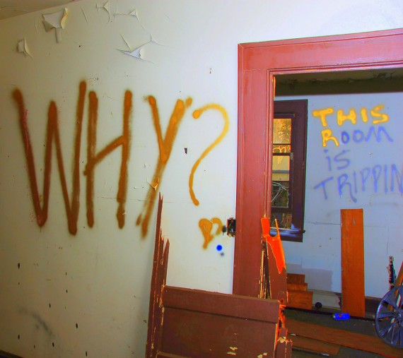 "Photo of a wall with the question, ""Why?"""