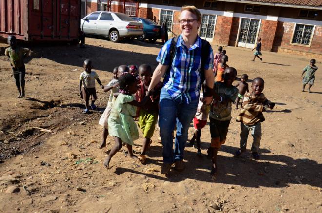 Slum kids with Jeff