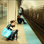 Girl waiting by subway