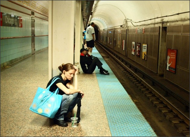 Girl waiting by subway